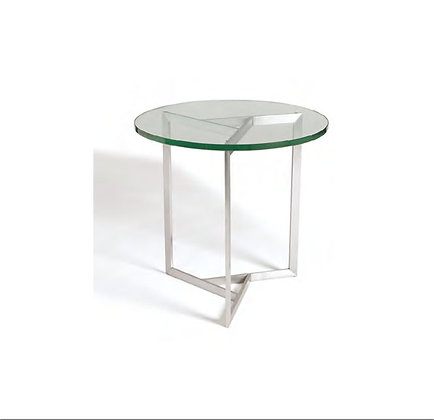 Satin Brushed Triangle Base Glass End Table