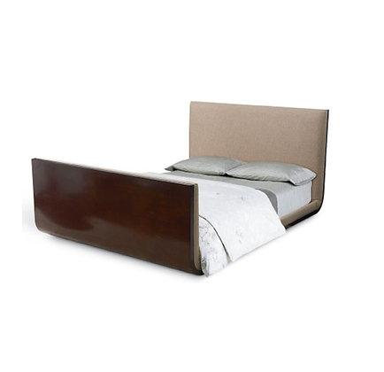 Upholstered walnut sleigh bed