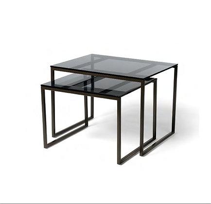 smoked glass + metal nesting tables