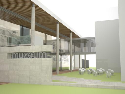 Štúdia prístavby Detvianskeho múzea.
