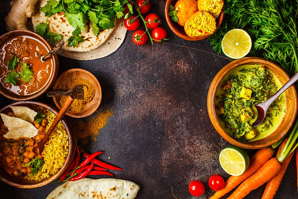 dal-palak-paneer-curry-rice-chapati-chut