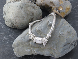 5MM snake chain bracelet with mixed links cuff and drops
