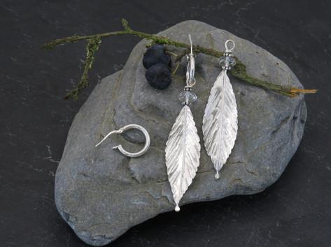 Silver leaf with Swarovski crystal