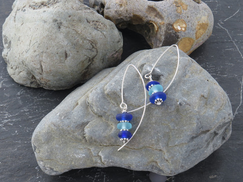 Long dangle with blue British sea glass drop