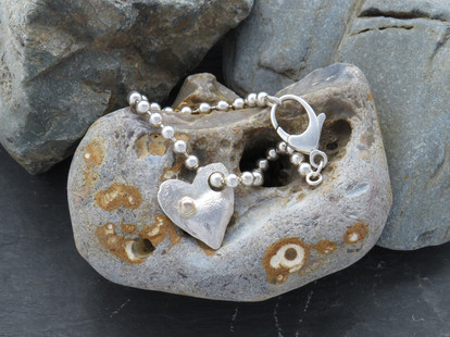 Silver ball chain with reticulated gold dot heart charm