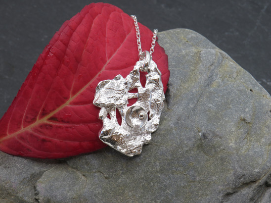 Fused abstract silver with cup details