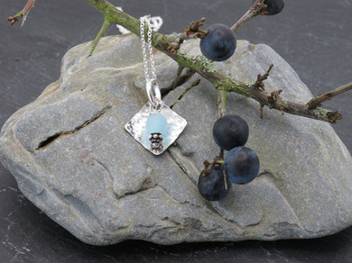 Hammered diamond with upcycled Bombay Sapphire Gin bottle glass bead