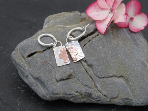 Hammered sterling silver with copper daisy