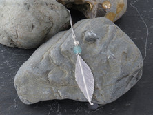 Sterling silver hand cut leaf with recycled bombay sapphire gin bottle glass bead
