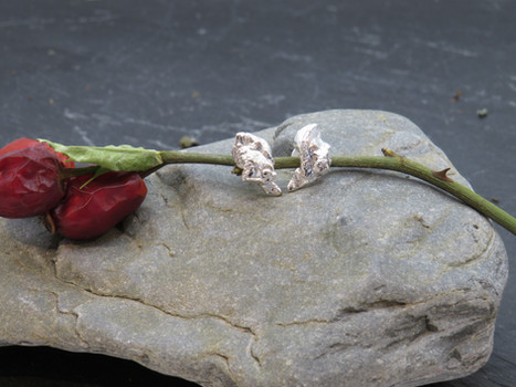 Melted gnarly silver studs
