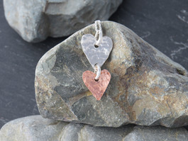 Hammered Silver and copper heart necklace