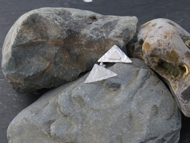 Silver triangle cufflinks