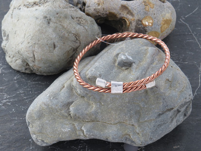 3 strand copper twisted wire with silver ends and cuff detail - adjustable