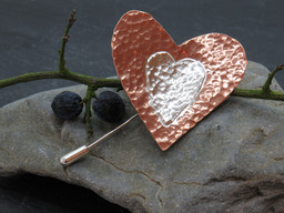 Large copper and silver brooch/pin