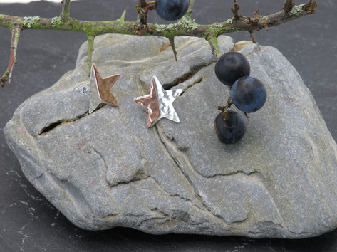 Silver and copper hammered stars