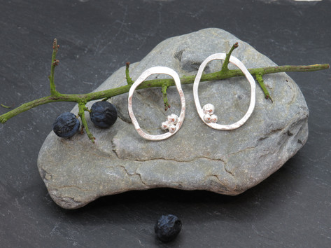 Large statement wonky hammered stud earrings