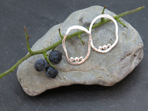 Large oval wonky statement studs with 3 silver molten balls