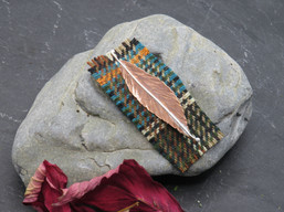 Copper and silver leaf brooch