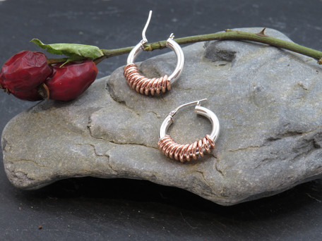 Heavy silver creole with copper wire wrap