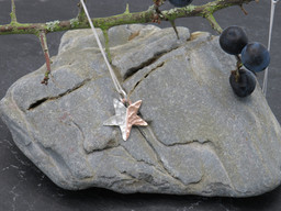 Hammered silver and copper star (earrings to match)