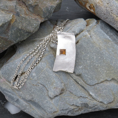 """Reticulated curved rectangle with square topaz on a 16/18"""" chain"""