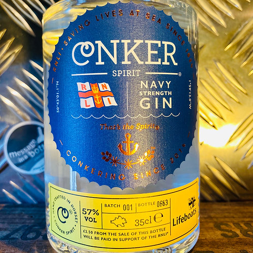 Conker Spirit - navy strength gin : RNLI / lifeboats charity bottle