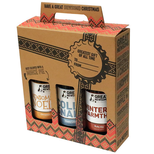 Great Newsome 🇬🇧 x3 Christmas Beer Bottle Gift Pack