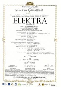 Locandina Elektra S.Carlo di napoli 2017