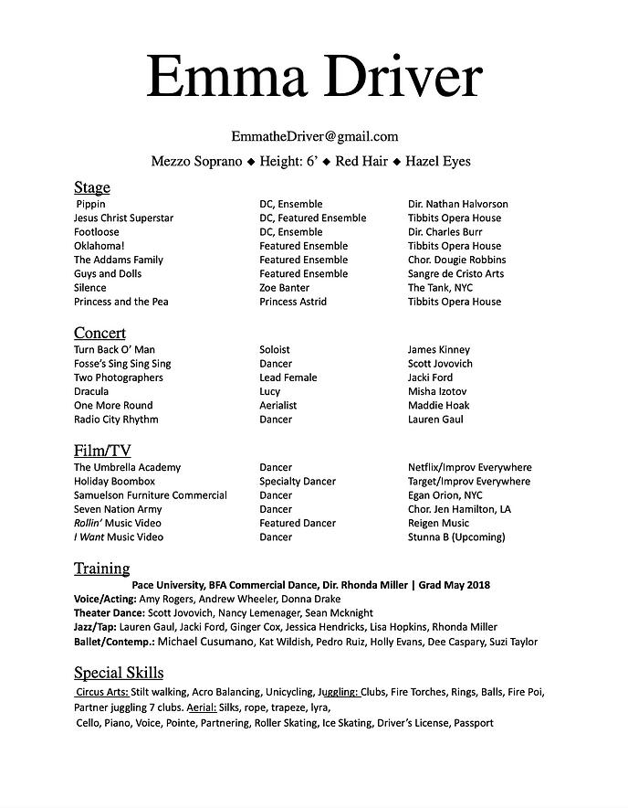 resume for website - emma driver dance.p