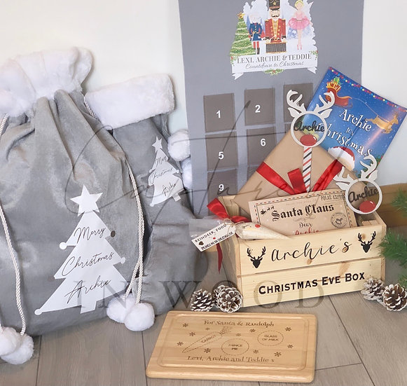 PERSONALISED FILLED CHRISTMAS EVE BOX (GOLD)