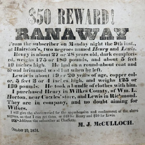 Runaway Advertisement for Henry and Lewis