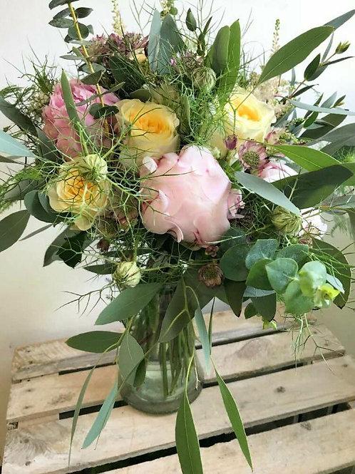 Florist Choice - Hand tied BQ in glass vase