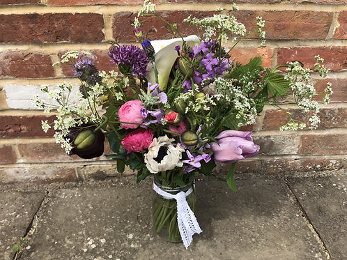 Florist Choice Jam Jar of Flowers