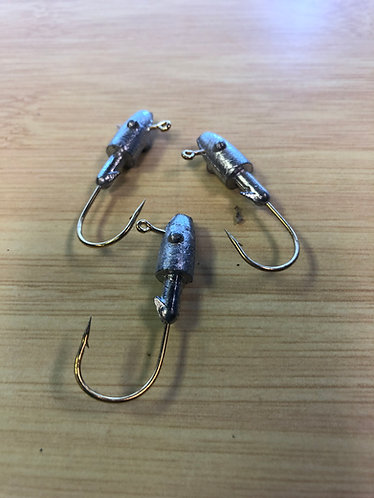 1/4 Ounce Bullet Head Jigs with Barb - 1/0 Gold Hook