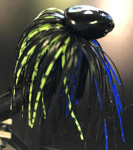 Black Blue Chartreuse Weedless Brush Jig