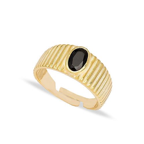 Adjustable Ring Oval Shape Black Zircon Stone