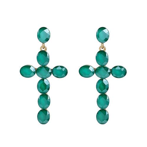 Cross Green Earrings