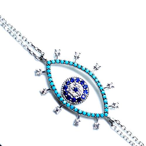 Evil Eye Rhodium Bracelet