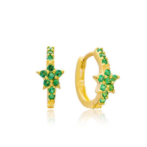 Green Mini Hoops Earrings