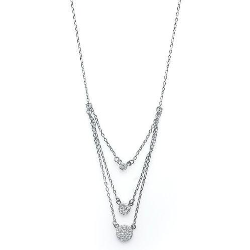 Three Round Rhodium Necklace