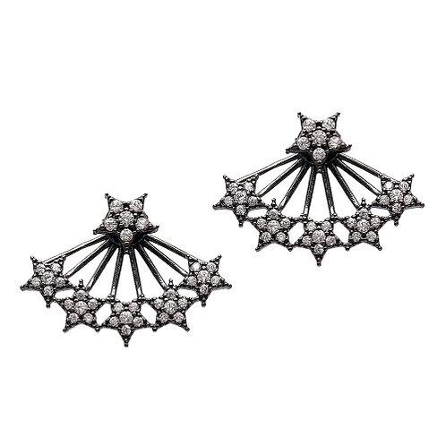 Star Handcrafted Black Rhodium Earrings