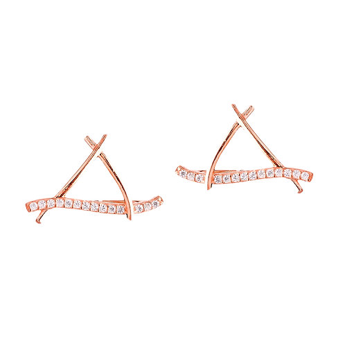 Triangle Jacket Rose Gold Earrings