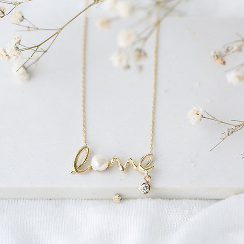 Love Letter Pearl And Zircon Mix Design Necklace