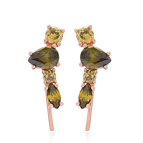 Green Stone Cuff Earrings