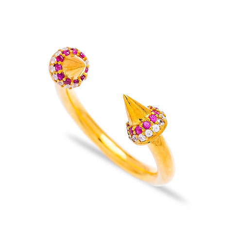 Double Spike Gold Ring