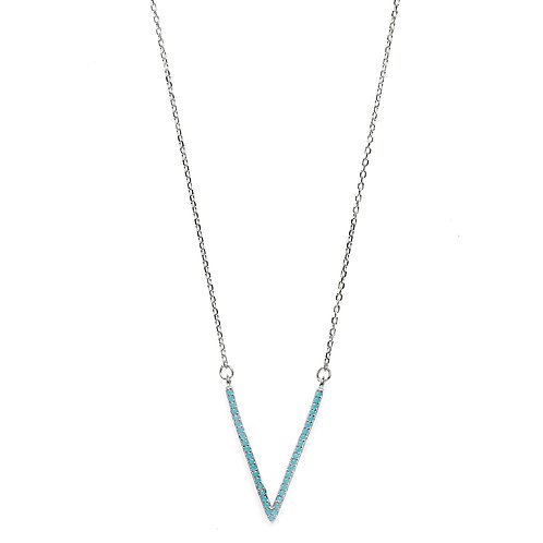 V Rhodium Plated Necklace