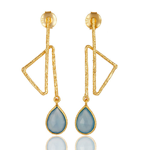 Zig Zag Style Chalcedony Earrings
