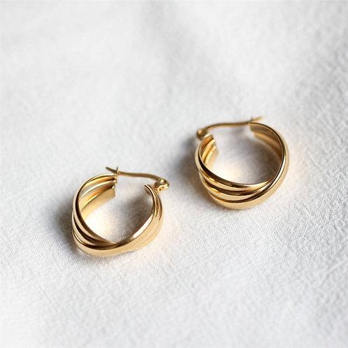 Three Line Gold Hoop Earrings