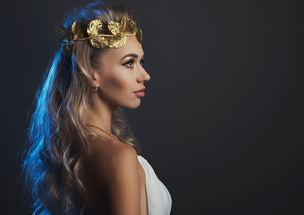 portrait goddess young woman on dark st
