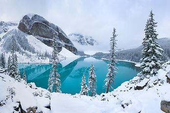 First snow Morning at Moraine Lake in Ba